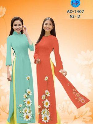 Vải áo dài hoa cúc AD 1407