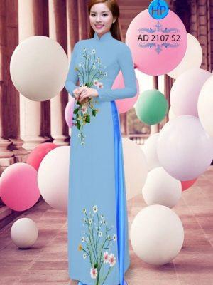 Vải áo dài hoa cúc AD 2107
