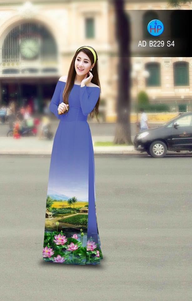 Vải áo dài phong cảnh AD B229