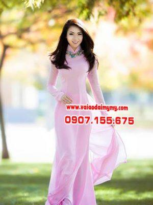 vải áo dài màu hồng nhạt
