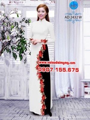 Vải áo dài hoa hồng AD 2432