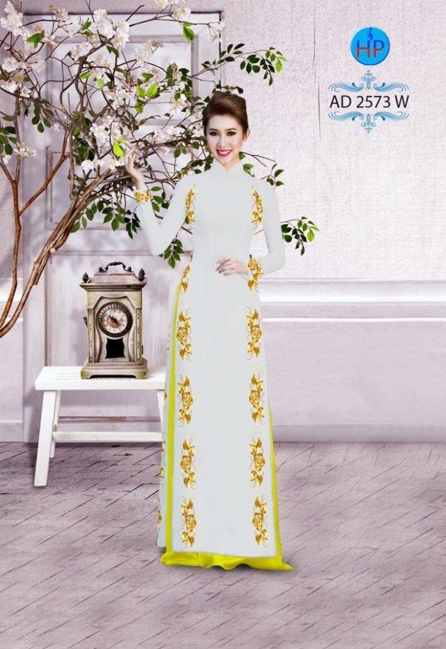 Vải áo dài hoa hồng AD 2573
