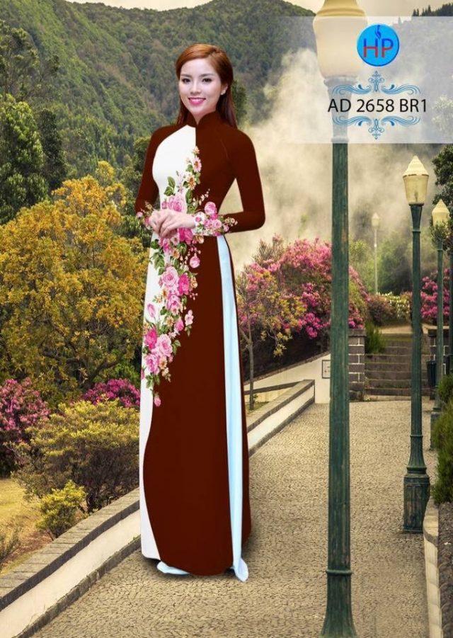 Vải áo dài hoa hồng AD 2658