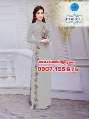 Vải áo dài hoa hồng AD 4105