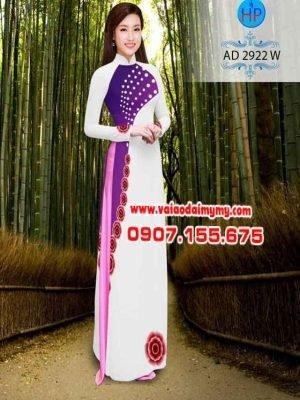 Vải áo dài chấm bi hình hoa AD 2922