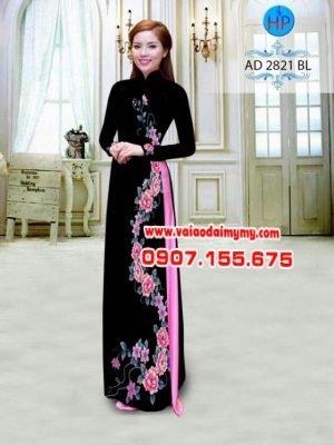 Vải áo dài hoa mẫu đơn AD 2821