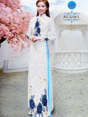Vải áo dài chấm bi đẹp AD 2234