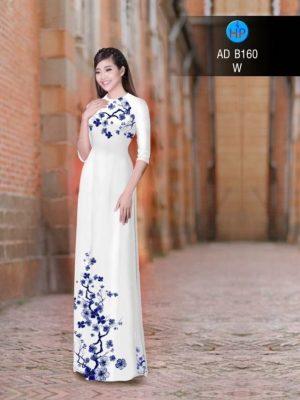 Vải áo dài hoa đào AD B160