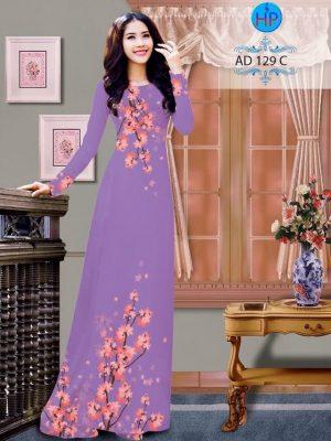 Vải áo dài hoa đào AD B129