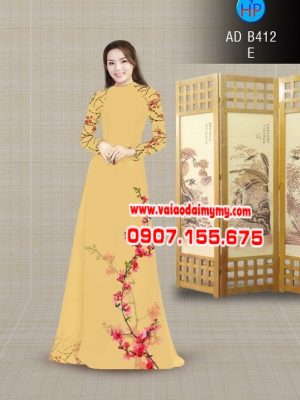 Vải áo dài hoa đào AD B142