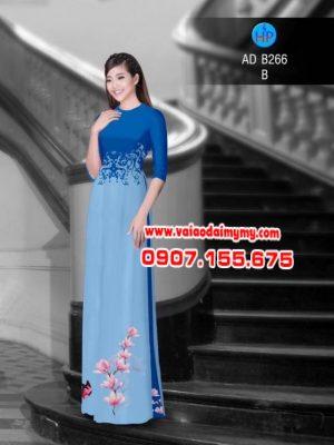 Vải áo dài hoa đào AD B266