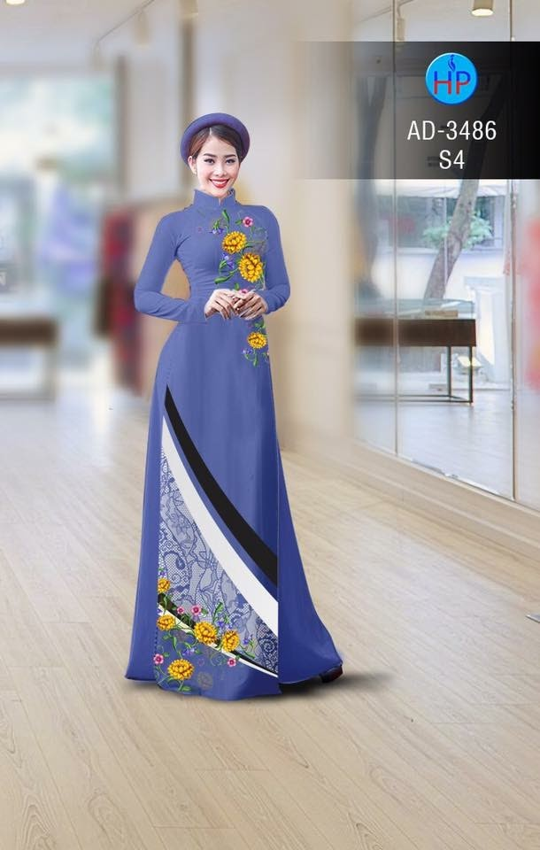 Vải áo dài hình hoa hướng dương AD 3486