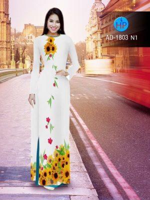 Vải áo dài hình hoa hướng dương AD 1803