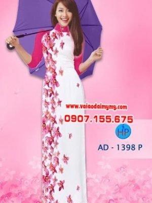 Vải áo dài hoa lan AD 1398