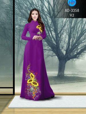 Vải áo dài hình hoa hướng dương AD 3358