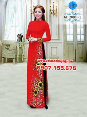 Vải áo dài hình hoa hướng dương AD 2881