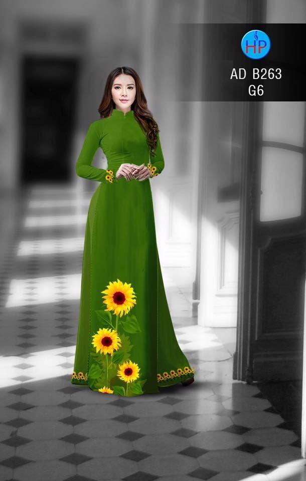 Vải áo dài hình hoa hướng dương AD B263