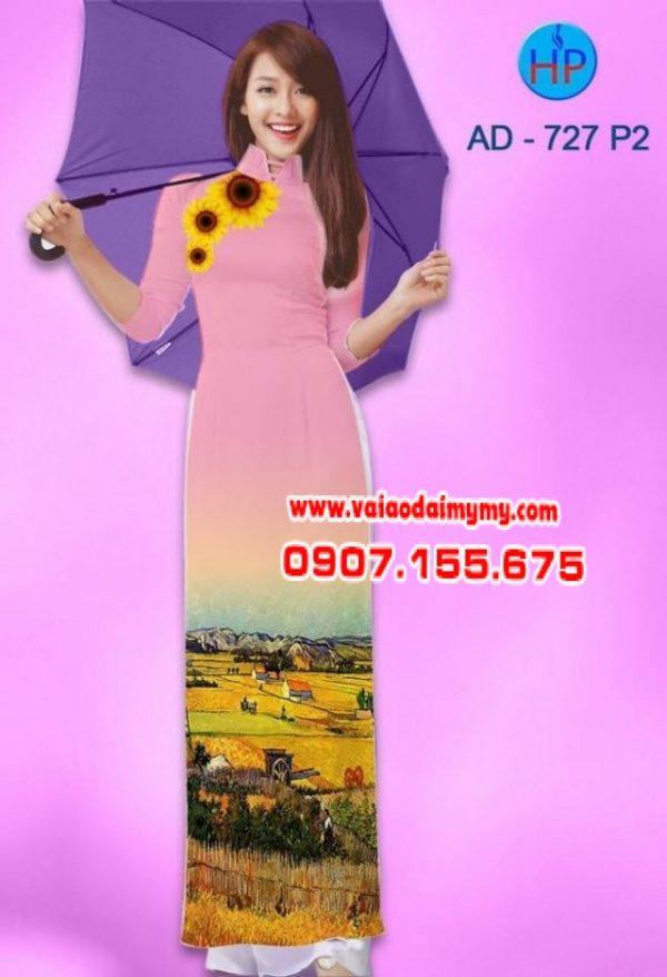 Vải áo dài hình hoa hướng dương AD 835