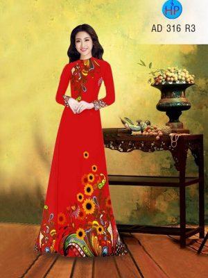 Vải áo dài hình hoa hướng dương AD 316
