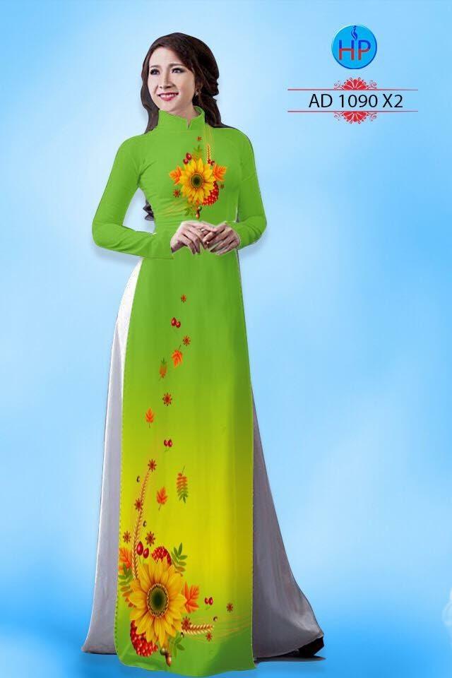Vải áo dài hình hoa hướng dương AD 1090