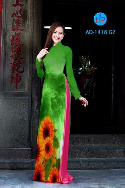 Vải áo dài hình hoa hướng dương AD 1418
