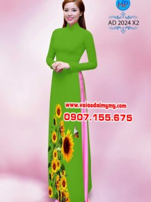 Vải áo dài hình hoa hướng dương AD 2024