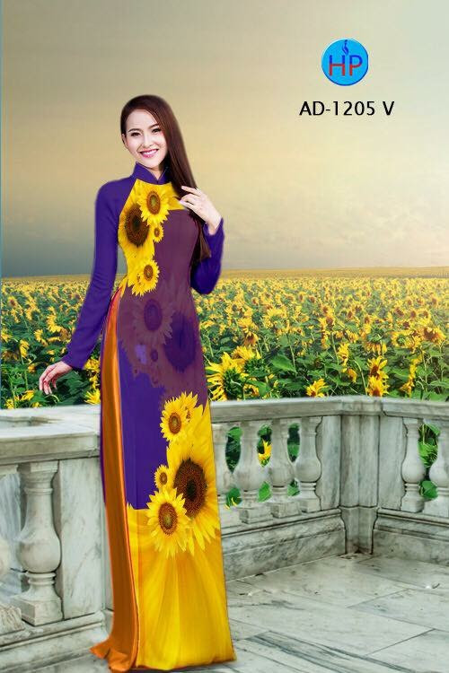 Vải áo dài hình hoa hướng dương AD 1205