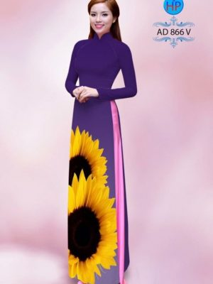 Vải áo dài hình hoa hướng dương