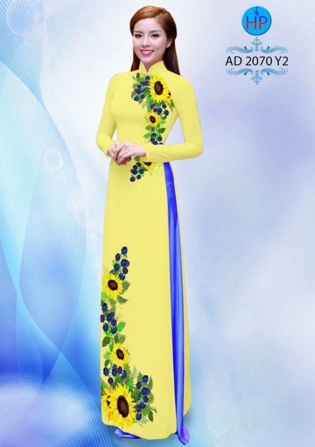 Vải áo dài hình hoa hướng dương AD 2070