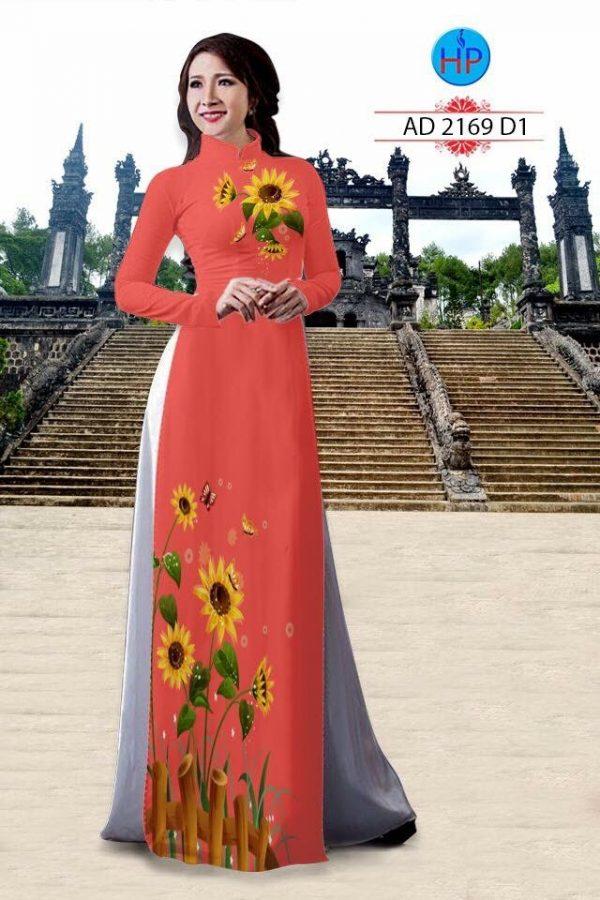 Vải áo dài hình hoa hướng dương AD 2169