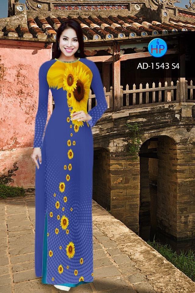 Vải áo dài hình hoa hướng dương AD 1543