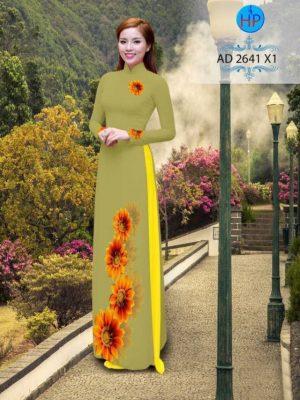 Vải áo dài hình hoa hướng dương AD 2641