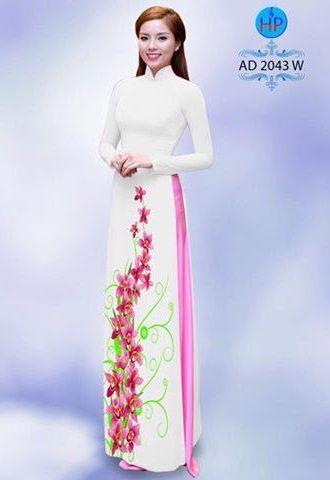 Vải áo dài hoa lan AD 2043