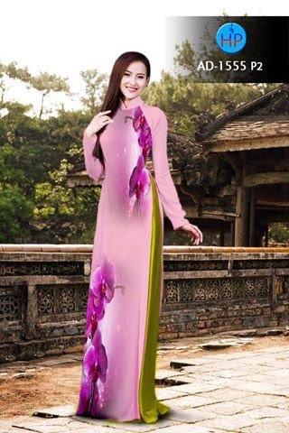 Vải áo dài hoa Lan AD 1555