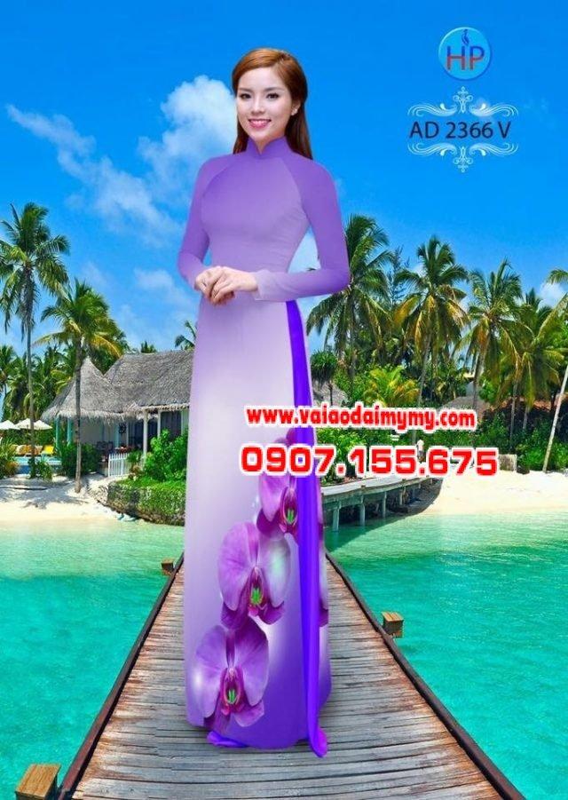 Vải áo dài hoa Lan AD 2366