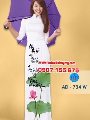 Vải áo dài thu pháp hoa sen AD 734