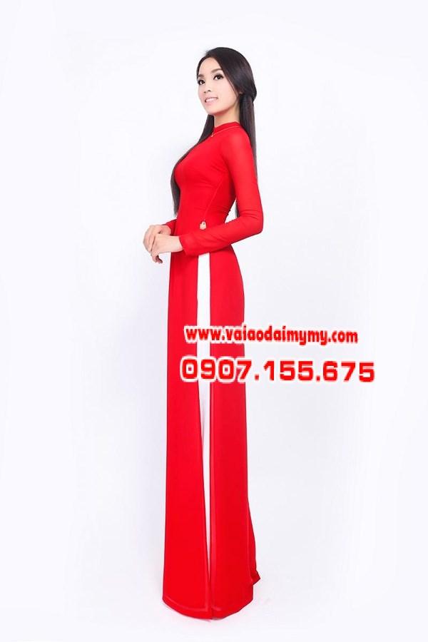 vải áo dài lụa trơn màu đỏ