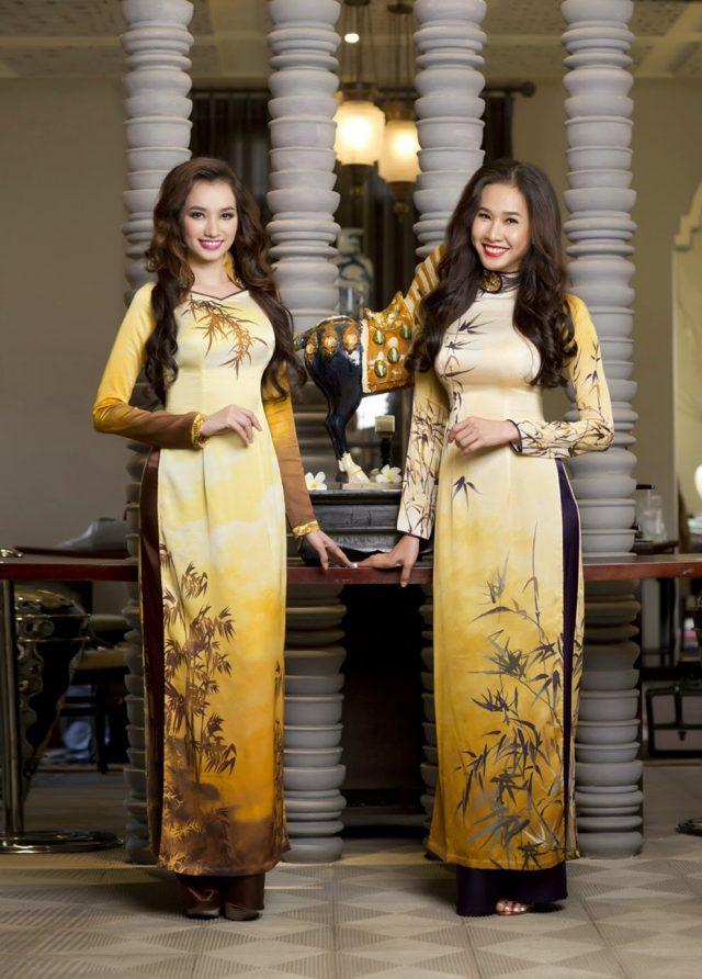 BST áo dài hoa sen và cây trúc
