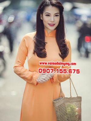 vải áo dài màu cam