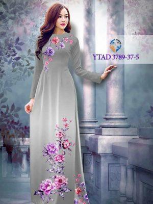 Vải áo dài hoa mẫu đơn AD YTAD 3789