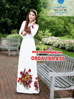 Vải áo dài in hình chim công cò AD B223