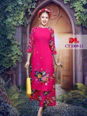 Vải áo dài cách tân bộ hình hoa hồng AD CT 3369