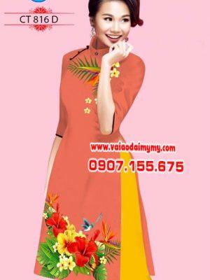 Vải áo dài cách tân hình hoa râm bụt AD CT 816