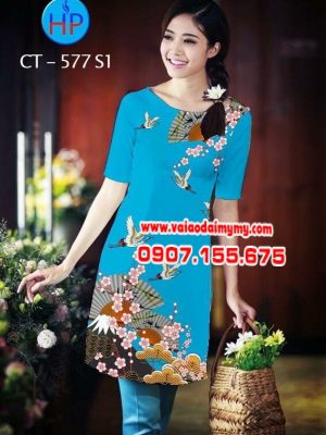 Vải áo dài cách tân hình hoa và cò AD CT 577