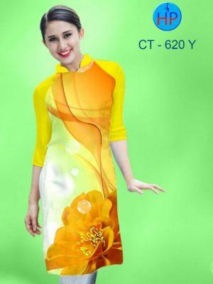 Vải áo dài cách tân in hoa đẹp AD CT 620