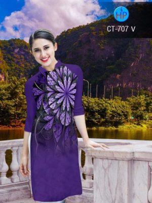 Vải áo dài cách tân in hoa ảo AD CT 707