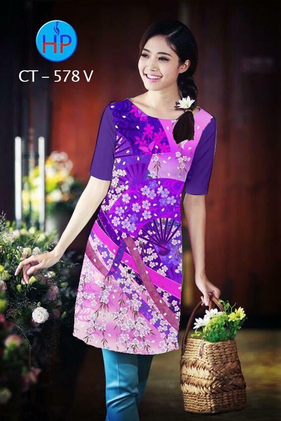 Vải áo dài cách tân in hoa nhỏ AD CT 578