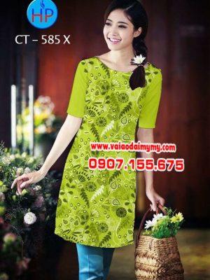 Vải áo dài cách tân in hoa nhỏ nguyên áo AD CT 585