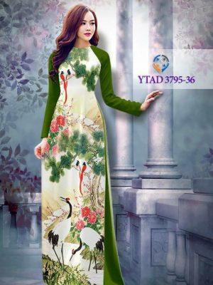 Vải áo dài hình chim cò AD YTAD 3795