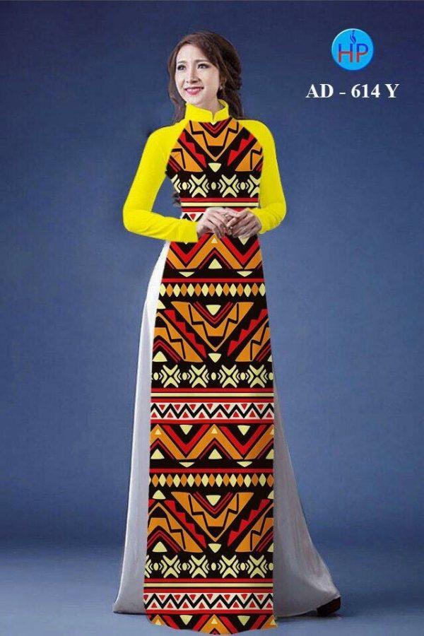 Vải áo dài hoa văn lập thể AD 614